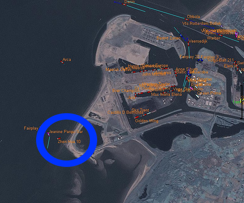 Location of Beached Ship Zhen Hua - Rotterdam